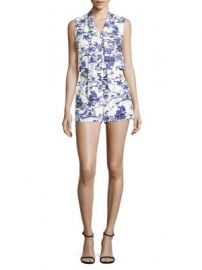 L AGENCE - Behati Printed Silk Romper at Saks Fifth Avenue