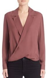 L AGENCE - Rita Drape-Front Silk Blouse Mulberry at Saks Fifth Avenue