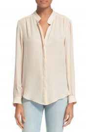 L AGENCE  Bianca  Band Collar Silk Blouse at Nordstrom