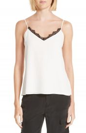L AGENCE Lia Lace Trim Silk Camisole at Nordstrom