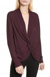 L AGENCE Twist Front Silk Blouse at Nordstrom