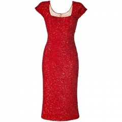 L Wren Scott Red Sequin Dress at Net A Porter