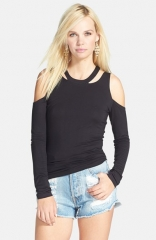 L is for Lover Jenny Cold Shoulder Top in black at Nordstrom