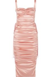 LACE-UP RUCHED STRETCH-SILK SATIN MIDI DRESS at Net A Porter
