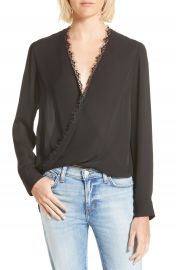 LAGENCE Rosario Lace Trim Silk Surplice Blouse at Nordstrom
