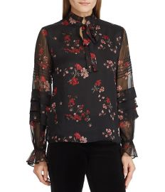 LAUREN Ralph Lauren Floral Victorian Tie Georgette Blouse at Dillards