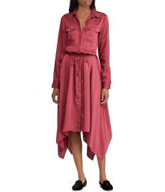 LAUREN Ralph Lauren Silky Twill Handkerchief Hem Midi Shirtdress at Dillards
