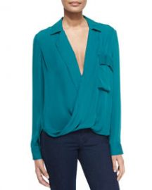 LAgence Lola Long-Sleeve Silk Blouse Teal at Neiman Marcus