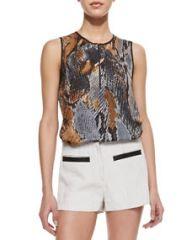 LAgence NMX Python-Print Sleeveless Blouse at Neiman Marcus