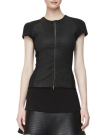 LAgence Ponte-Leather Zip-Front Top at Neiman Marcus
