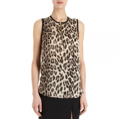 LAgence Sleeveless Leopard Print Blouse at Barneys