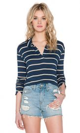 LNA Collar Crop Sweater in Navy  amp  Lino Stripe from Revolve com at Revolve