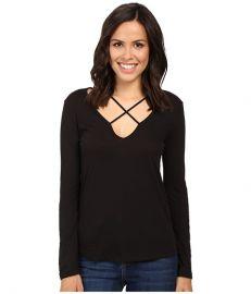 LNA Long Sleeve Cross Tee Black at Zappos