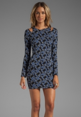 LUCCA COUTURE Long Sleeve Dress With Cut Out in Blue Print at Revolve