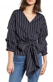 LYDELLE Stripe Wrap Top at Nordstrom
