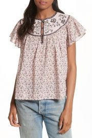 La Vie Rebecca Taylor Embroidered Yoke Top at Nordstrom Rack