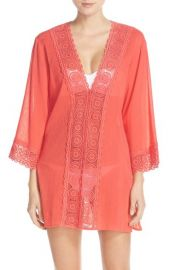 La Blanca Island Fare V-Neck Cover-Up Tunic in Papaya at Nordstrom