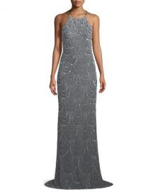 La Femme Allover Beaded Open-Back Gown   Neiman Marcus at Neiman Marcus