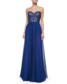 La Femme Strapless Lace-Bodice Flowy Gown at Neiman Marcus