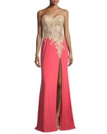 La Femme Strapless Sheer-Bodice Combo Gown Hot Coral at Neiman Marcus