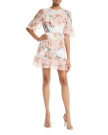 La Maison Talulah Darcy Floral-Print Mini Dress with Ruffled Frills at Neiman Marcus