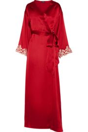 La Perla  Maison embroidered silk-satin robe at Net A Porter