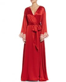 La Perla Maison Lace-Trim Long Robe RedGold at Neiman Marcus