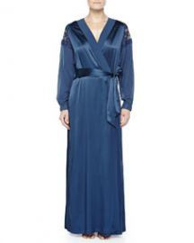 La Perla Ricamato Lace-Tulle Satin Robe Blue at Neiman Marcus