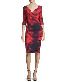 La Petite Robe di Chiara Boni 3 4-Sleeve Floral Tie-Dye Cocktail Dress  Winter Blossom Red at Neiman Marcus
