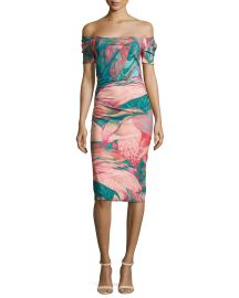 La Petite Robe di Chiara Boni Briseide Off-the-Shoulder Floral Cocktail Dress at Neiman Marcus
