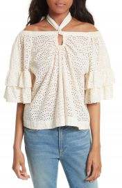 La Vie Rebecca Taylor Eyelet Cotton Off the Shoulder Top at Nordstrom