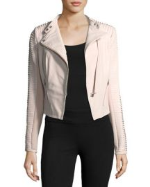 LaMarque Stripped Leather Motorcycle Jacket at Neiman Marcus