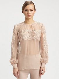 Lace On Silk Chiffon Shirt by Valentino at Saks Fifth Avenue
