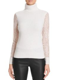 Lace Sleeve Turtleneck Cashmere Sweater white at Bloomingdales