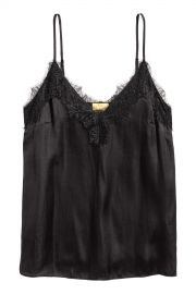 Lace and satin camisole black at H&M