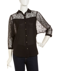 Lace-Chiffon Three-Quarter-Sleeve Blouse at Last Call