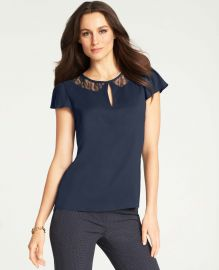 Lace Collar Keyhole Top at Ann Taylor