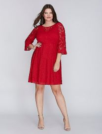Lace Fit  Flare Dress with Flounce Sleeves at Lane Bryant