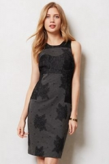 Lace Flocked Column Dress at Anthropologie