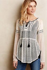 Lace-Front Peasant Blouse at Anthropologie