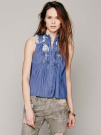 Lace Inset Collar Button Down at Free People