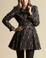 Lace Overlay Coat at Bebe