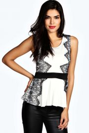 Lace Peplum Top at Boohoo