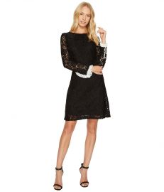 Lace Shift Dress with Long Sleeves by Adrianna Papell at Zappos