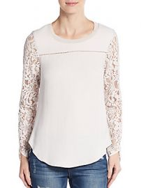 Lace Silk Mixed Media Top at Saks Off 5th