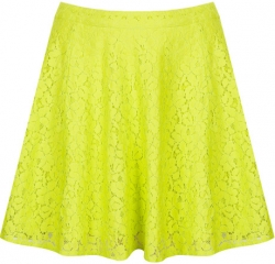 Lace Skater Skirt in Lime at Topshop
