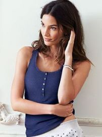 Lace Trim Henley Tank at Victorias Secret