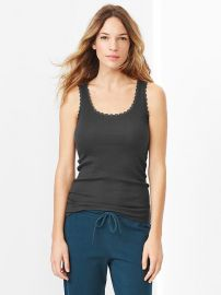 Lace Trim Ribbed Tank at Gap