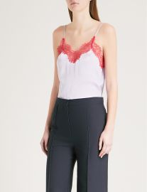 Lace-Trim Silk-Satin Top by Sandro at Selfridges