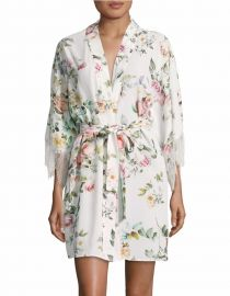 Lace-Trimmed Floral Robe by Flora Nikrooz at Lord & Taylor